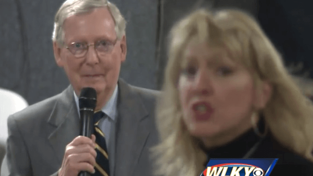 Woman takes 'she persisted' inspiration from Elizabeth Warren straight to Mitch McConnell.
