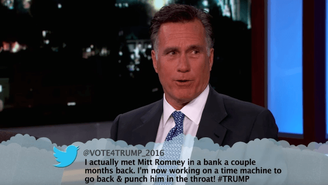 Mitt Romney read mean tweets from Trump supporters on 'Kimmel,' made everyone miss 2012.