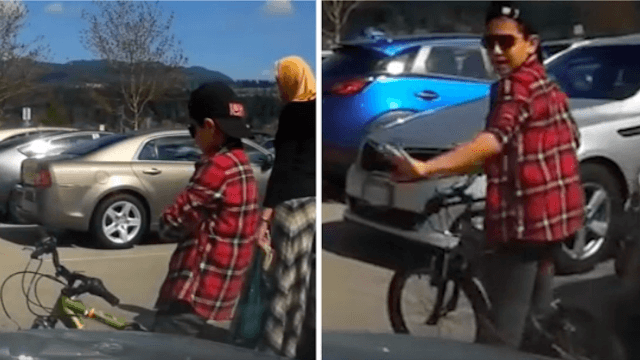 Mom uses kid as a human traffic cone to steal a parking space, piss off another driver.