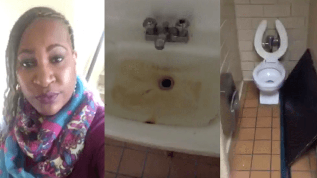 Mom goes viral with hilarious rant about 'dirty' middle school bathroom.