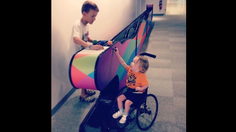 A mom is turning to Facebook to find the boy who made her disabled son's day.