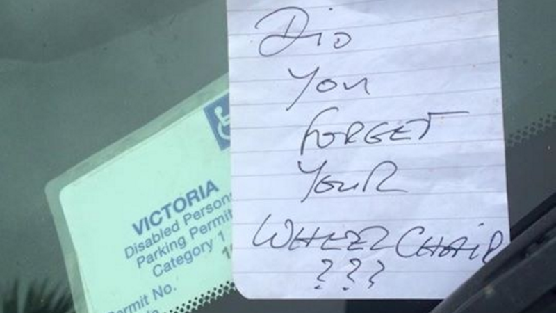 A mom wrote an open letter to whoever left a note on her car parked in a disability spot.