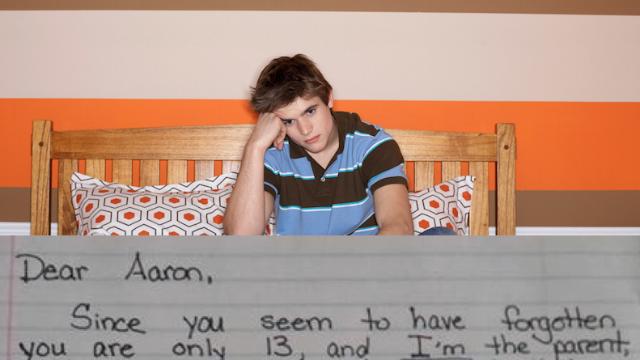 A teen lied to his mom about doing his homework, so she sent him an invoice that's going viral.