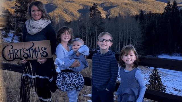 Mom has genius idea to include deployed husband in the family Christmas card.