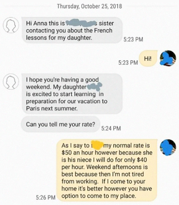 Nightmare mom tries to bully woman into teaching her daughter French for only 5$ an hour.