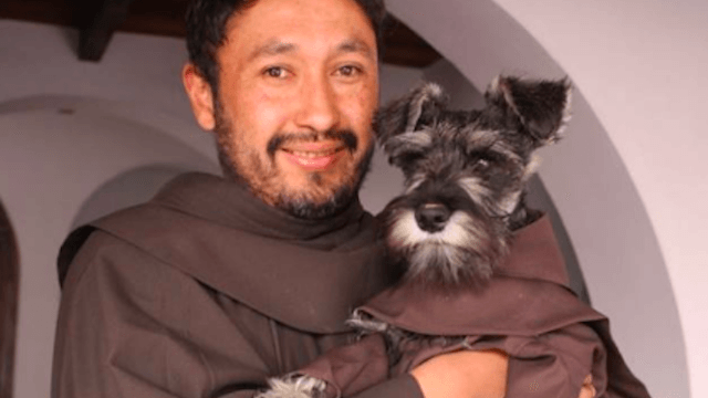 Monks adopted this stray dog and named him Friar Moustache, so get ready for your heart to explode.