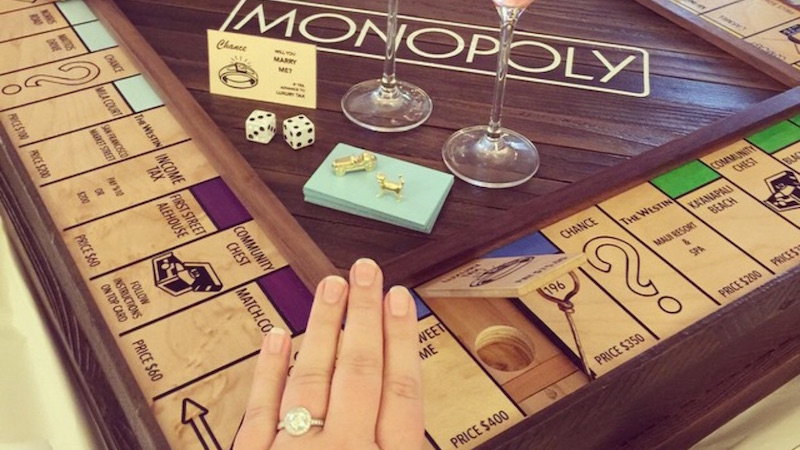 This ideal husband proposed to his wife with a handmade Monopoly board designed just for her.