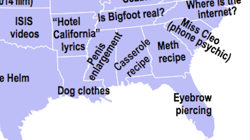 This map of every state's most embarrassing Google search is full of disturbing surprises.