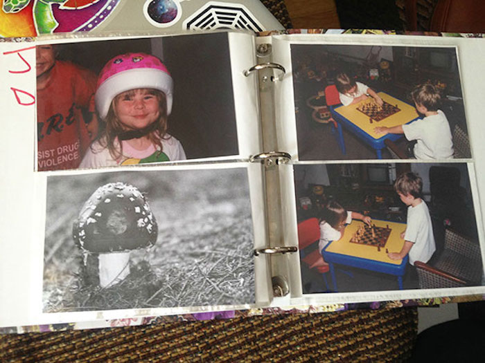 These parents told their kids they had another, third kid who didn't take a bath and turned into a mushroom, and so they put mushroom pictures in old photo albums.
