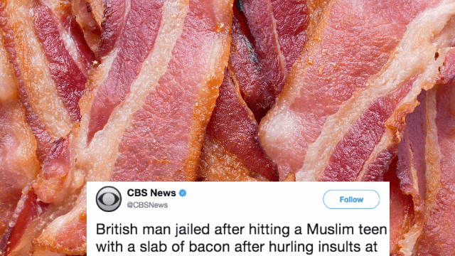 Muslim man perfectly mocks guy who attacked a teen with a piece of bacon.