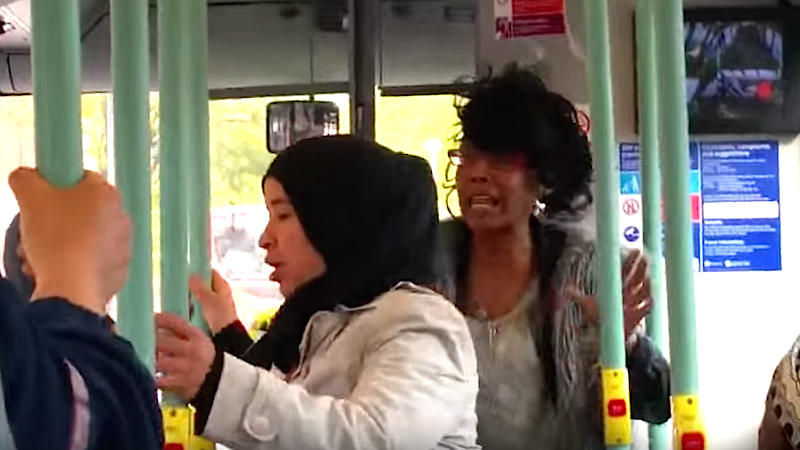 Psychopath's hate speech to pregnant Muslim woman on bus shows the evils of xenophobia, public transit.