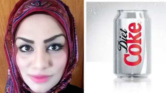 Muslim woman denied can of Diet Coke because flight attendant thinks she may use it as weapon.