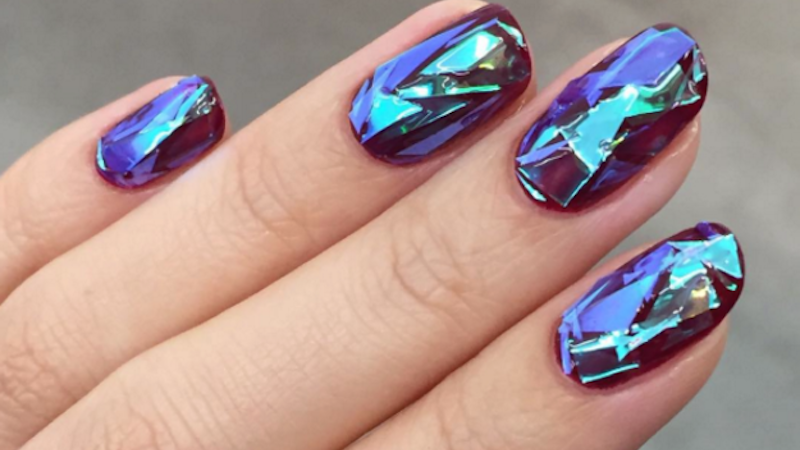 """Broken glass"" is the new nail trend that will make you nervous about wiping yourself."