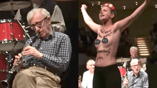 Topless feminist protestors interrupt Woody Allen playing jazz music. It's better than his last movie.