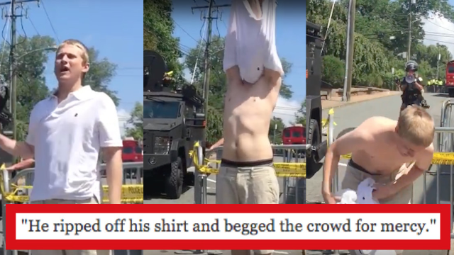 Terrified Nazi in Charlottesville strips off uniform and runs when sh*t gets real. It's all on film.
