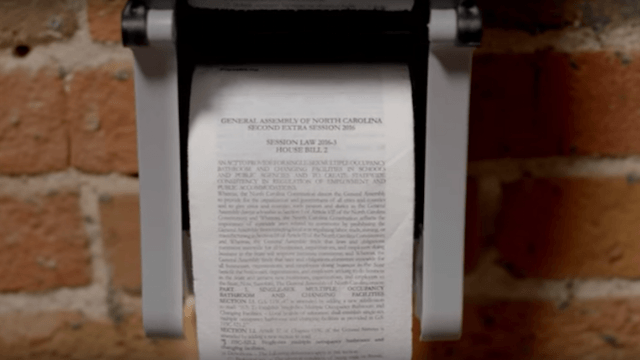 Some genius printed North Carolina's bigoted bathroom law on toilet paper, where it belongs.