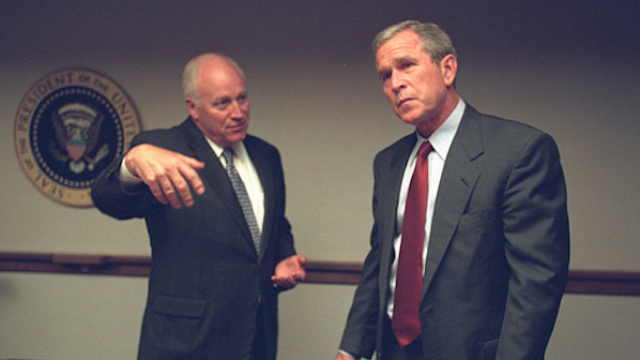 Never-before-seen pictures of the Bush administration's immediate response to 9/11 were released today.