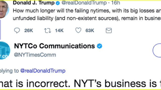 The 'failing' New York Times gloriously claps back at Donald Trump on Twitter. Finally.