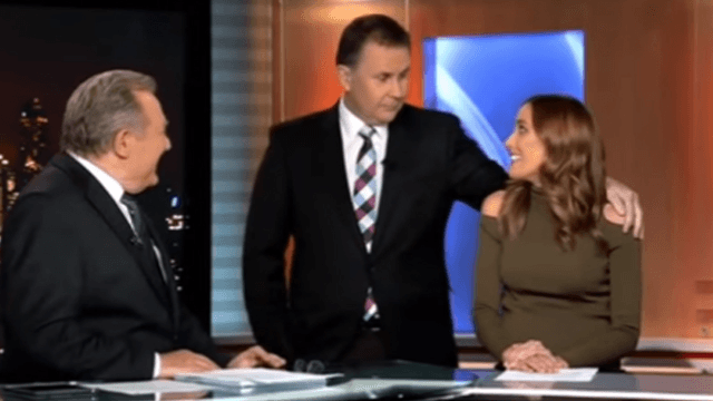 News anchor gets rejected for a kiss on-air and the team can't keep it together.