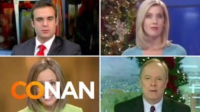 Conan O'Brien catches the local news anchors making the same holiday joke over & over & over.