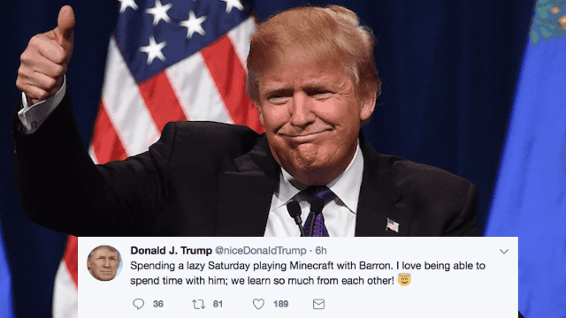 This Twitter account imagines what Donald Trump would tweet if he were a super nice guy.