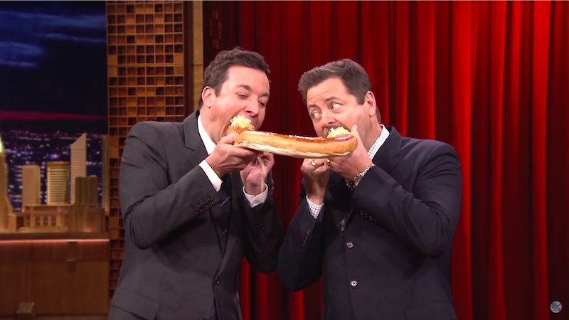 Nick Offerman teaches Jimmy Fallon the best fatty meat dishes to get that perfect fall body.