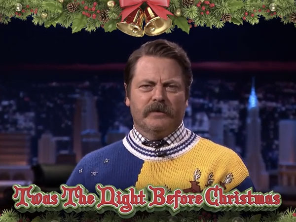 "Nick Offerman reads a cranky, condensed, modernized version of ""Twas the Night Before Christmas."""
