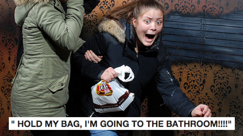 21 photos of people scared sh*tless at haunted houses.