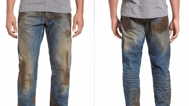 Nordstrom's latest monstrosity are these wildly over priced 'pre-dirtied' jeans.