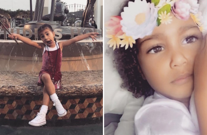 People think Kim Kardashian's daughter looks almost exactly like her ex Reggie Bush's daughter. Any thoughts, Kanye?