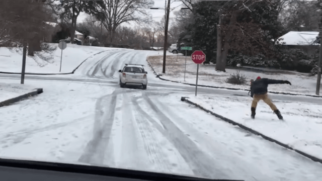 North Carolina only got a couple inches of snow, but this street skier made the most of them.