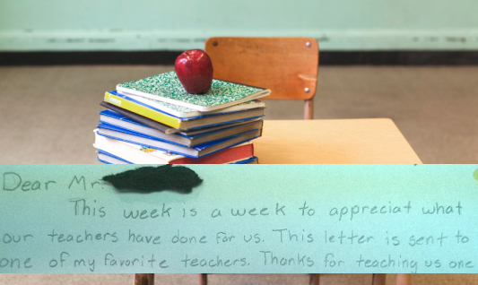 6th grader pens hilariously condescending thank-you note for Teacher Appreciation Day.