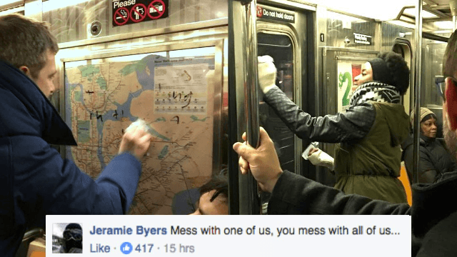 Subway riders mobilize to shut down hate crime in the most New York way.