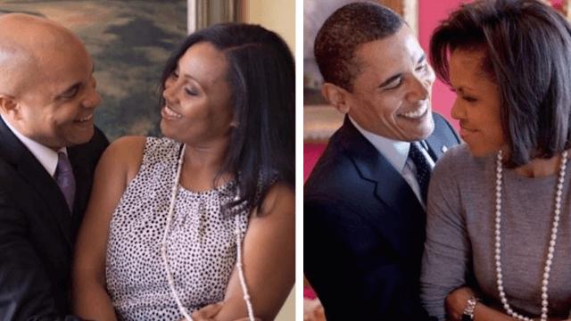 Couple celebrates engagement with Barack and Michelle-themed photoshoot.