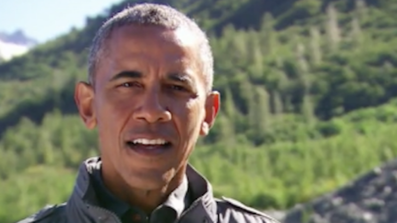 Here's the video of Obama eating a leftover fish from a bear, which has to be a metaphor for congressional gridlock or something.