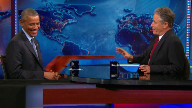 Obama went on 'The Daily Show' one last time before Jon Stewart leaves office.