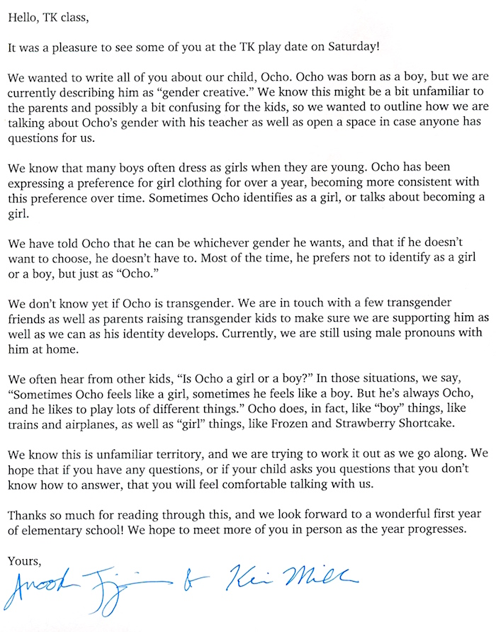 Couple writes letter to other pre-K parents to explain their 'gender-creative' child and to brag.