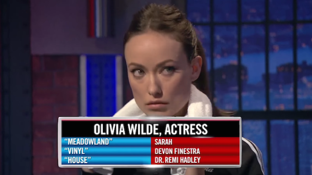 Olivia Wilde nailed every Hollywood cliché in Seth Meyers's 'Actathlon' challenge.