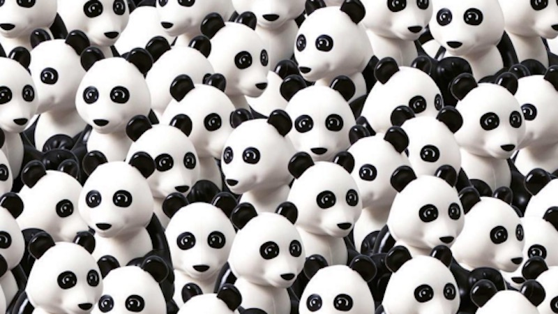 Can you find the Lego dog hiding among all these pandas? If you can't, you may go insane.