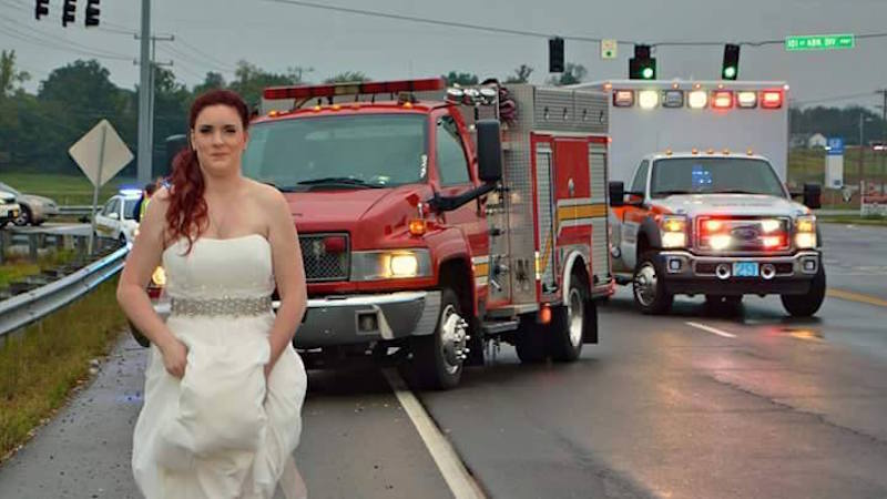 Paramedic bride and groom leave their own wedding for the most important call of their lives.