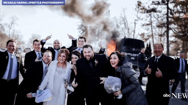 Couple's party bus disaster results in hilarious wedding photos.