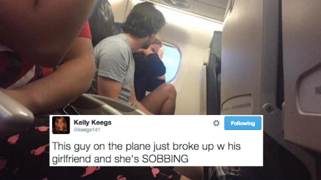 Passenger live-tweets the screaming, sobbing drunk couple breaking up on her flight.