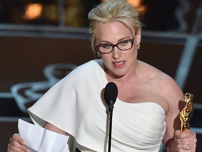Patricia Arquette wins Academy Award and incites a lady riot.