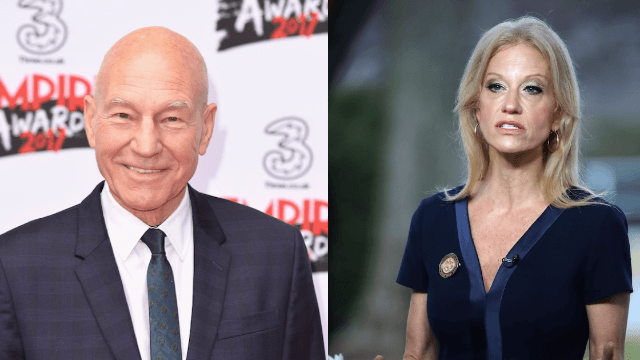 Patrick Stewart in drag looks just like Kellyanne Conway and the internet can't handle it.