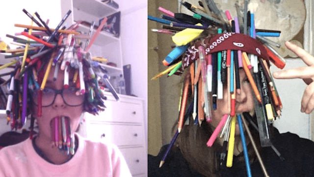 The world watched two teens compete over how many pens they could fit on their faces.