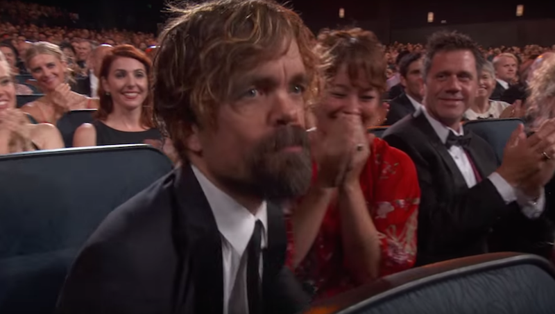 Peter Dinklage tongue-kissed his wife to get rid of his gum before accepting his Emmy.