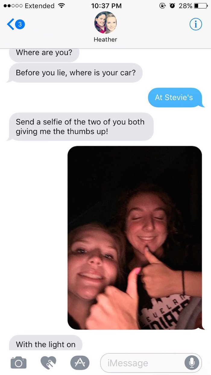 Mom asks daughter to take selfies to prove she isn't lying about her whereabouts. It got out of hand.