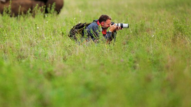Photographer misses rhinos humping right behind him, possibly because he's not a 12-year-old boy.