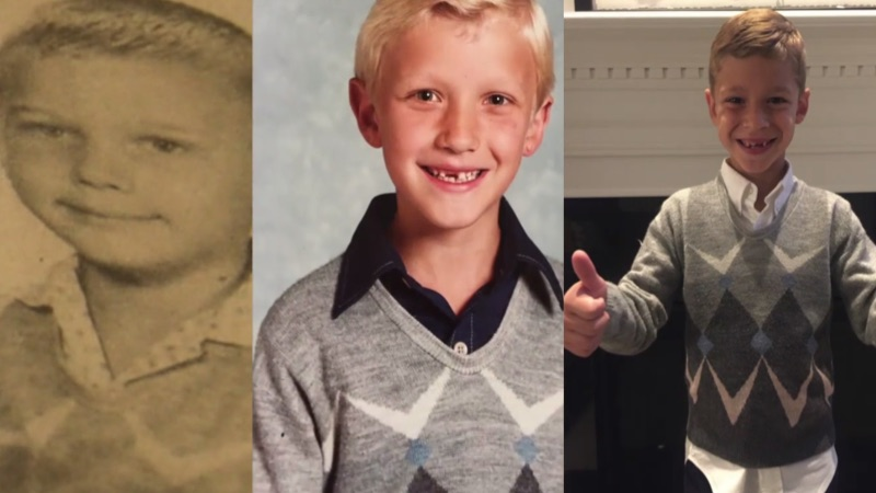 Kid becomes the 5th in his family to wear the same nerdy 61-year-old sweater to picture day.
