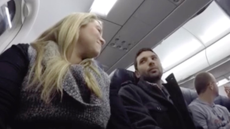 Woman flying back from Vegas enlists pilot's help to tell her husband about their own little jackpot.